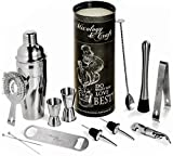 Mixology Bartender Kit: 14-Piece Cocktail Shaker Set - Bar Tool Set For Home and Professional Bartending - Martini Shaker Set with Drink Mixing Bar Tools - Exclusive Cocktail Picks and Recipes Bonus