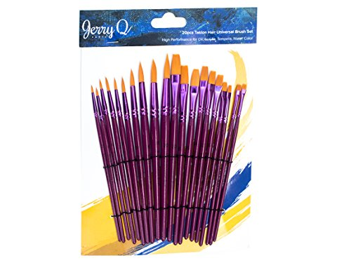 Jerry Q Art 20 pcs Golden Taklon Universal Brush Set for Watercolor, Acrylic, Oil, Tempera. Short Wooden Handles JQ202 (Taklon Brush)
