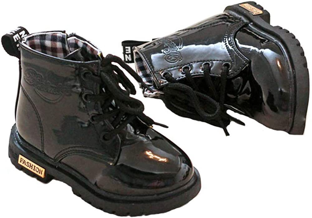 BayDaBu Toddler Waterproof Black Boot Boys Girls Side Zipper Ankle Rocking Boot