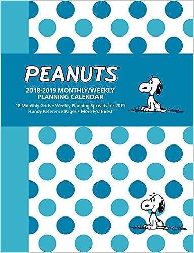 Calendario Snoopy 2020.Peanuts 2018 2019 Monthly Weekly Planning Calendar Peanuts