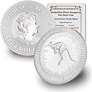 2021 AU 1 oz Australian Silver Kangaroo Coin Brilliant Uncirculated with Certificate of Authenticity by CoinFo