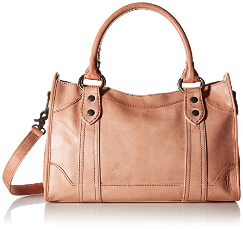 FRYE Melissa Zip Satchel Leather Handbag, Dusty Rose (Sleeve Zip Rugged)