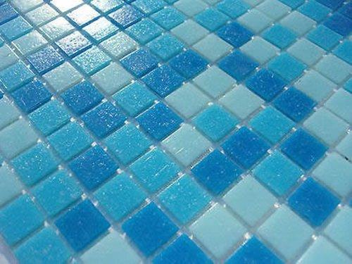 Fliesentopshop 1qm Glas Mosaik Fliesen Pool Dusche Bad Azur Blau