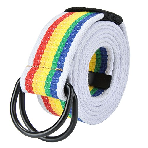 Rainbow Web Belt - Faleto Mens 51 inch Double D-Ring Canvas Web Belt Casual Stripe or Solid Pattern,Black D Ring-Rainbow Stripes