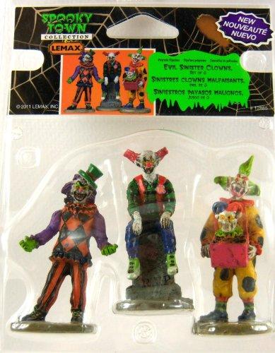 [Lemax Spooky Town Evil Sinister Clown Set of 3 #12885] (Halloween Clowns)