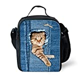 Showudesigns Cute Animal Denim Cat dog Lunch Bag insulated Picnic Food Bag