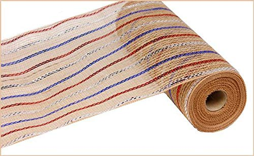 Craig Bachman Metallic Jute Stripe Deco Poly Mesh Ribbon - 10.5