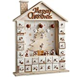 WeRChristmas Wooden House Advent Calendar Christmas Decoration, 37 Cm - Natural/White