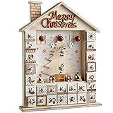 WeRChristmas Wooden House Advent Calendar Christmas Decoration, 37 Cm - Natural/White