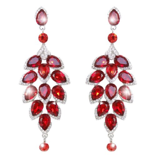 Silver-Tone Teardrop Cluster Flower Red Austrian Crystal Dangle Earrings