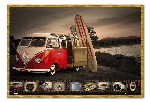 Furgoneta VW Kombi para Tabla de Surf Póster Corcho Pin Tablero con Marco de Roble - 96.5 x 66 cms (Aproximadamente 38 x 26 Pulgadas): Amazon.es: Hogar