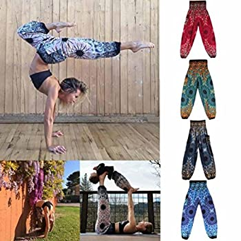 Amydong Yoga Pants, Men Women High Waist Yoga Pants Loose Thai Harem Trousers Boho Festival Hippy Smock Fitness Leggings (Free Size, Blue) 4