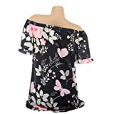 Keliay Womens Tops for Summer,The Women Off Shoulder Floral Printed Blouse Casual Tops T Shirt
