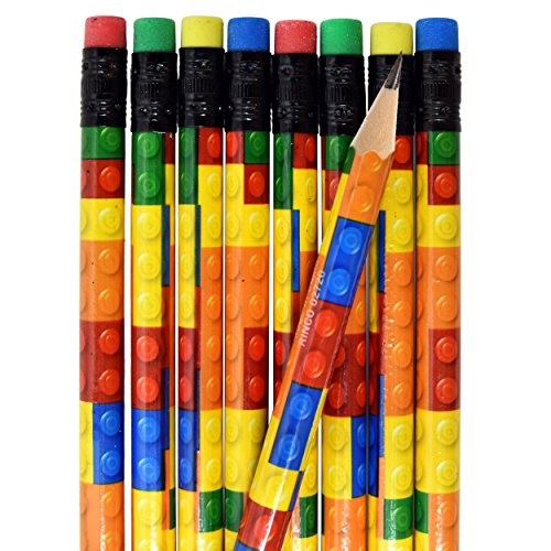 Gift Boutique 48 Colorful Building Block Brick Pencils Kids Birthday Goody Bag Bulk Filler Party Favor Supplies with Color Erasers ()