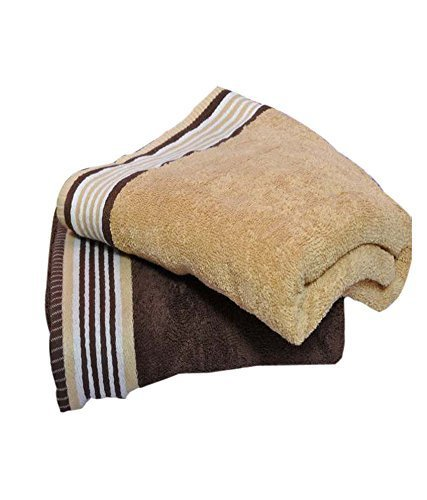 Trident His And Her Cotton 2 Pack Bath Towels, Golden Haze & English Wood