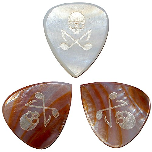 Guitar Picks (Made from Real Mother of Pearl) by Skull and Tones | [2mm Thick] [Traditional 351 Shape] [3 Picks Per Order]