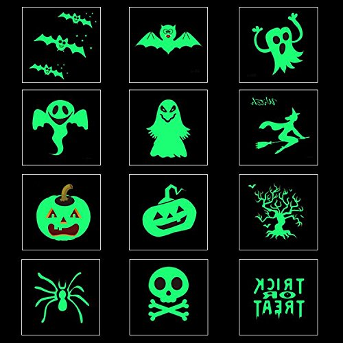 Funny Halloween Theme Luminous Temporary Tattoos GLOW IN THE DARK Removable Stickers - Perfect Gifts for Kids - Halloween Party Favors - 12PCS (Quick And Easy Halloween Makeup Ideas)