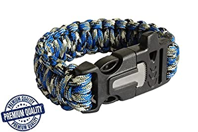 Paracord Survival Bracelet with Fire Starter for Camping, Basic Survival Gear, Military Parachute Cord 550, Buckle with Whistle, Scraper/Knife and Flint Fire Starter, Camo Blue
