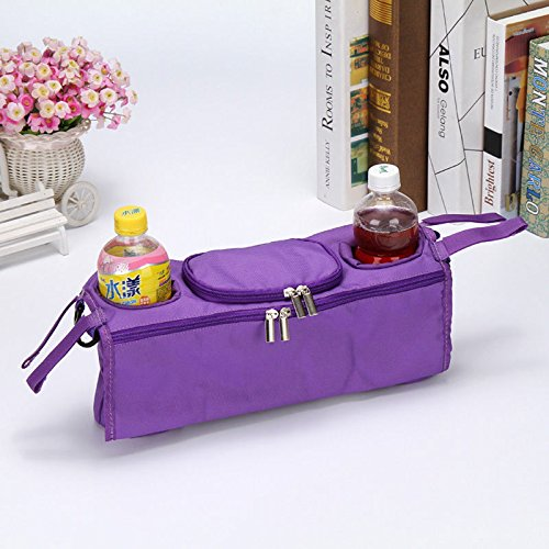 パープルキッズ赤ちゃんベビーカー安全コンソールトレイPram Hangingブラックバッグボトルカップホルダー   B06XV98Z26