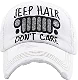 H-212-JHDC09 Distressed Patch Dad Hat: Jeep Hair Don't Care, White