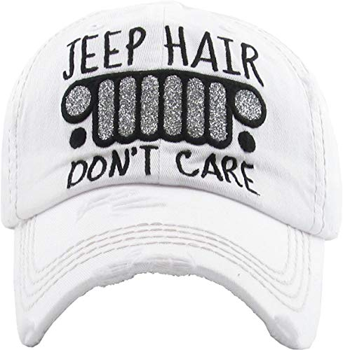 H-212-JHDC09 Distressed Patch Dad Hat: Jeep Hair Don't Care, White ()