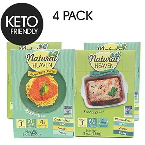 Natural Heaven Veggie Pasta Spaghetti Noodles 2 x 9 oz, Lasagna Noodles 2 x 9 oz (4 Packs)
