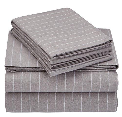 Pinzon 160 Gram Pinstripe Flannel Sheet Set - Queen, Grey Pinstripe - PZ-PLFLAN-GP-QN