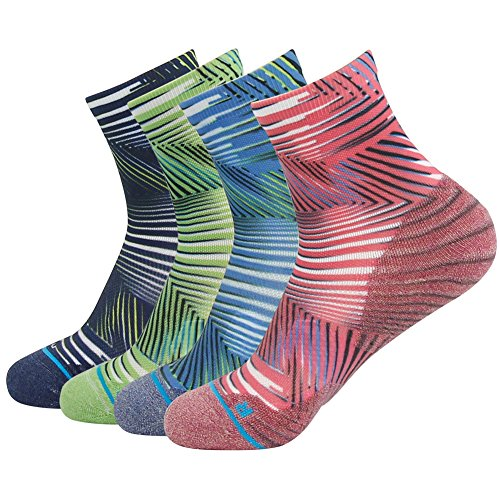 HUSO Crazy Running Socks Ankle Assorted Striped Stretchy Anti Odor Socks 4 Pairs for Men Women (Multicolor, L/XL) ()