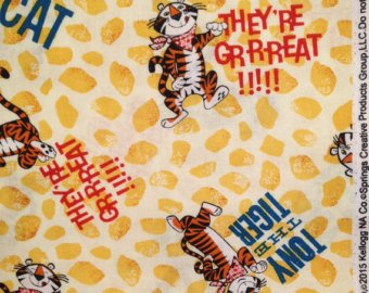 1 Yard - They're Great! Tony the Tiger & Kellogg's Cotton Fabric (Great for Quilting, Sewing, Craft Projects, Throw Pillows & More) 1 Yard X 44 Springs Creative