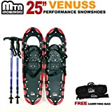 "New MTN 25"" Red All Terrain Snowshoes + Nordic Pole + Free Carrying Bag"