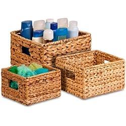 Honey-Can-Do STO-02882 Nesting Banana Leaf Baskets, Multisize, 3-Pack