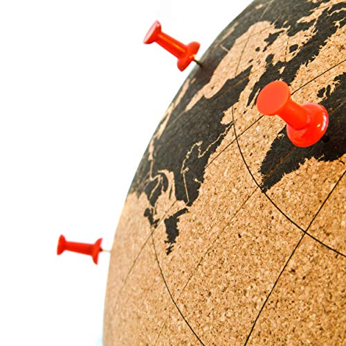 SUCK UK Cork Push PINS Included Educational World MAP Travel Accessories Adventure & Memories Display Globe, Small…