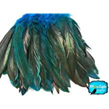 Rooster Tails, TURQUOISE Half Bronze Coque Tail Strung feathers - 2.5 Inches