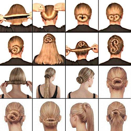 6PCS Hair Bun Maker Easy & Fast Donut Bun Maker, Magic Perfect Bun Maker DIY Snap Beauty Crown and Donut Hair Bun Making Roll Tool Ponitail Holder OperationCwrl