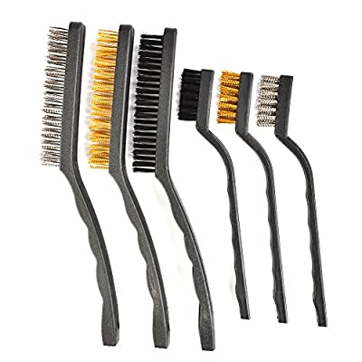 ATPWONZ 6 Pcs Mini Wire Brush Set for Cleaning Welding Slag Rust and Dust Bristles Brushes (Stainless Steel, Brass and Nylon Brush)