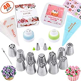 Russian Piping Tips Set 48 Pcs Cake Cupcake Decorating Supplies Kit Flower Frosting Tips 12 Icing Nozzles-2 Leaf Tips-3 Couplers-28 Pastry Baking Bags-User Guide 8 BEST BAKING SUPPLIES - Decorate like a PRO! We prepared 12 most popular professional Russian Piping Tips,2 Different Leaf Tips,28 Disposable Pastry Bags, 1 Silicone Reusable Pastry Bag,2 Single Coupler, 1 Tri Coupler, Cleaning Brushes,User Guide,Storage Box,Gift Box, Free Post-it notes . LFVIK cake decorating supplies is ideal for newbies or professionals.  NO EXPERIENCE - Easy to use! Each tip is numbered, and you will get written instructions showing outcome flower shape of each numbered tip,buttercream and frosting recipes.Our best frosting recipes will help you make the right consistency buttercream frosting icing recipes.They can make any cake look professionally decorated even if your skill level is at zero! HIGH QUALITY - No more bursting! Our disposable piping bags are made of strong EXTRA THICK LOPE plastic, strong thick and durable. Icing Frosting Nozzles are Extra Large laser tips made of FDA Approved Material 304 Steel which insures ✔ Durability ✔ High Rust Resistance ✔ Safe to use by Kids ✔ Safe to contact with food.