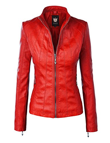 (LL WJC877L Womens Panelled Faux Leather Moto Jacket L RED)