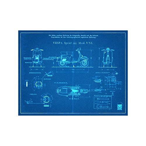 (Vespa Scooter Engineers Diagram - Blueprint Style - Art Print - 18