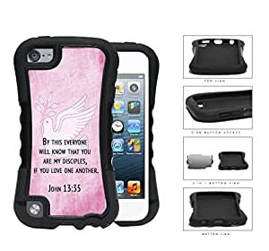 John 13:35 Religious Bible Verse on PINK Grunge & White Dove [iPod Touch 5] 2-piece Dual Layer High Impact Black Silicone Cover