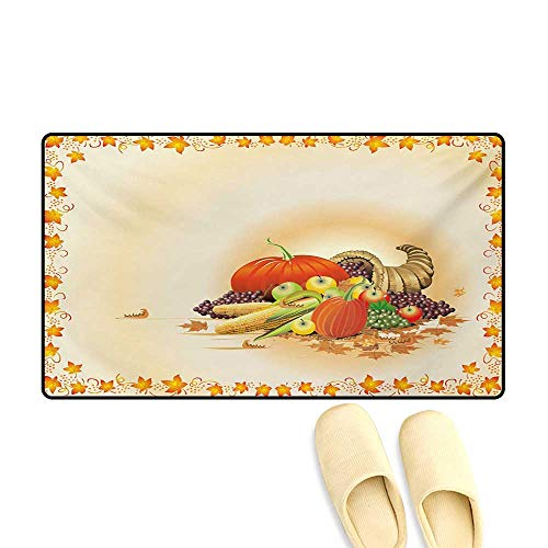 Bath Mat,Maple Tree Frame with Rustic Composition for Thanksgiving Halloween Dinner Food,Door Mat Indoors Bathroom Mats Non Slip,Multicolor,32