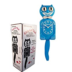 """New Classic Vintage Kitty-cat Klock Scuba Blue 12 ¾"""" Cat Clock with Free Batteries Made in USA Official Dealer"""