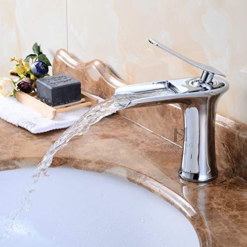 JWLT Wasserhahn Wasserfall Wasserhahn, alle Kupfer heiß und kalt Waschbecken, Waschbecken Wasserhahn, Bad Becken, Höhe Töpfe und weiß, Low Silber