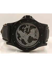 King Master Mens World Map Diamond Watch 0.12Ctw Km102 Freeze [Watch]