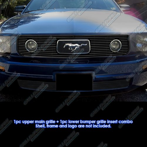 2006 Mustang Pony (Fits 2005-2009 Ford Mustang V6 Pony Package Black Billet Grille Grill Combo # F61219H)