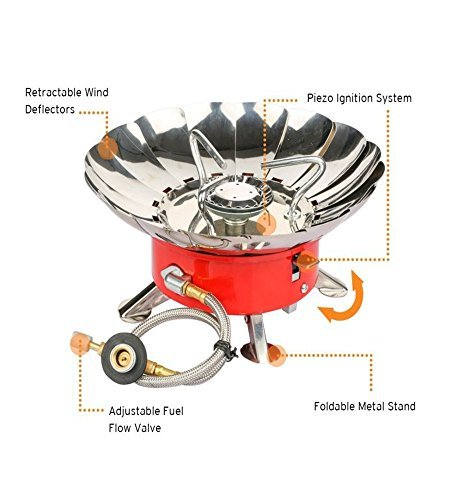 Etekcity E-gear Portable Collapsible Windproof Backpacking Gas Camping Stove (Orange)>