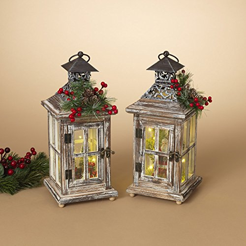 Gerson Set of 2 13.5InH B/O Wood Lanterns by Gerson (Image #2)