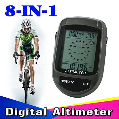 8 in 1 LCD Digital Altimeter Compass Altimeter Barometer Thermometer Cycling Altimeter (Black)