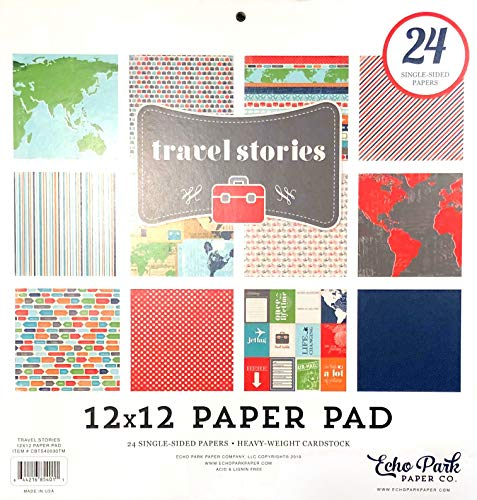 Carta Bella/Echo Park - Travel Stories 12x12 Scrapbooking Project Decorative Paper Pad - Item # CBTS40030TM - Copyright 2019 - Maps, Airplanes, Suitcases, Road Signs, Bicycles, Postcards - 24 Pages (Best Paper Airplane In The World 2019)