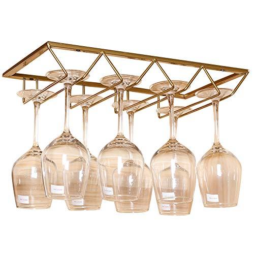 Lzttyee European Style Iron 4-slot Triangle Design Hanging Wine Glass Organizer Storage Holder Under Cabinet Stemware Rack Hanger (Gold)