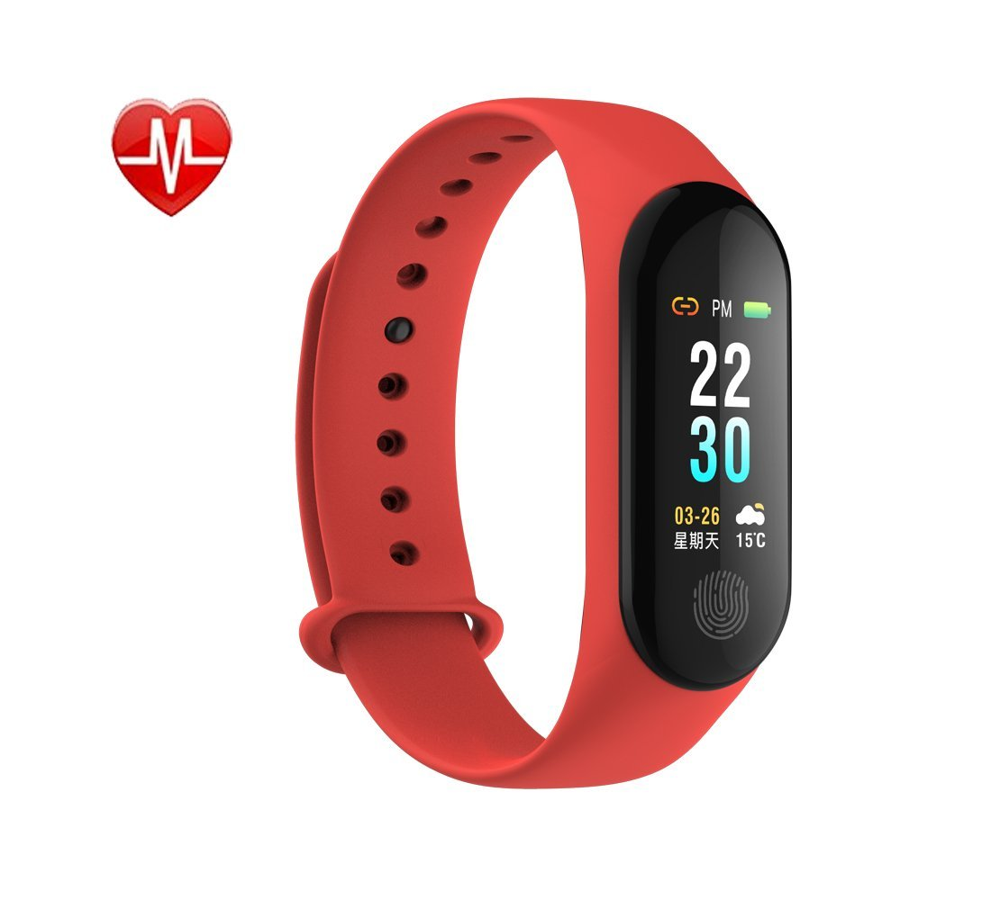 Rorsche Fitness Tracker, Activity Tracker with 24 Hour Heart Rate Monitor & Smartwatch with IP67 Waterproof & Adjustable Screen Brightness & 14 Training Modes & Sleep Monitoring & SNS Me (Red)